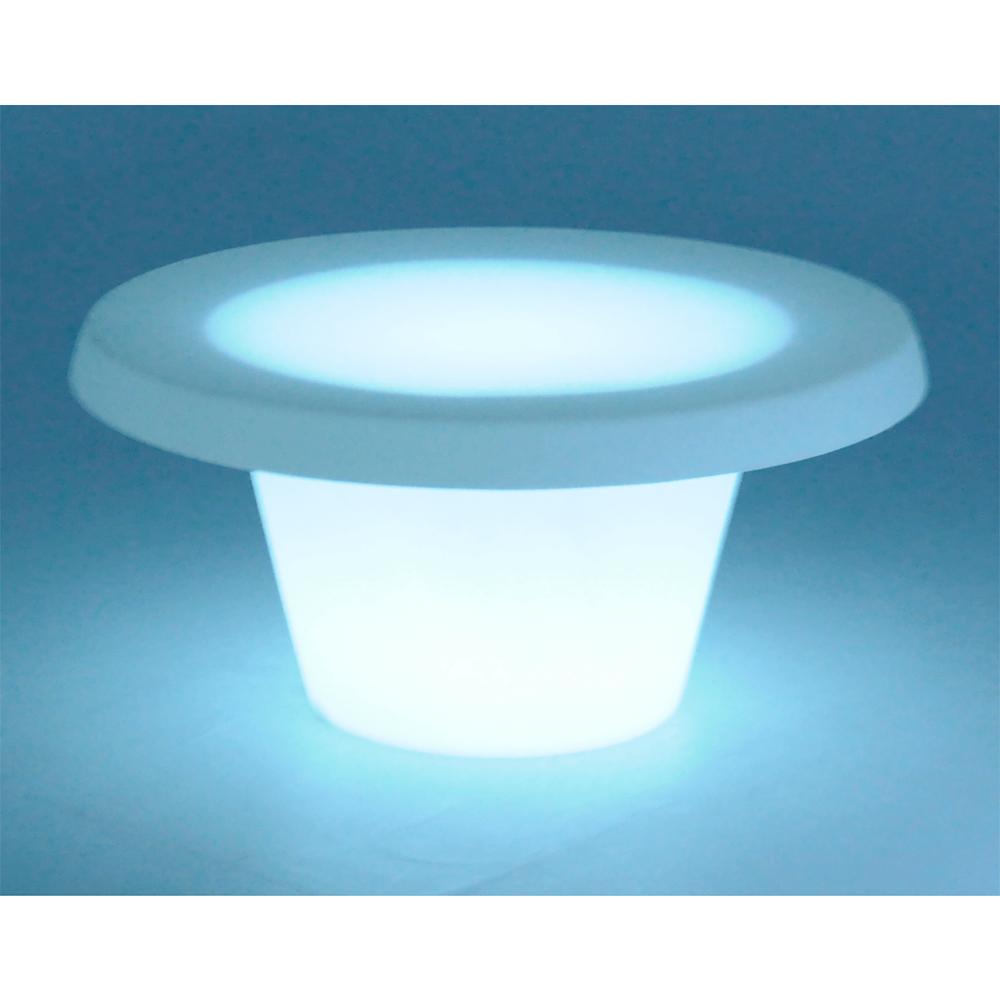 Mesa de Centro 80x39 cm Cona Lumiere Transparente Iluminada com Lâmpada Led em Polietileno Tramontina 92720111