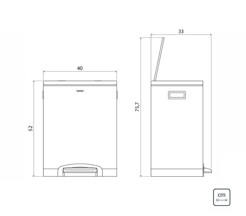 Lixeira Inox com Pedal Dupla 15 Litros Quadratta Plus Tramontina 94538630