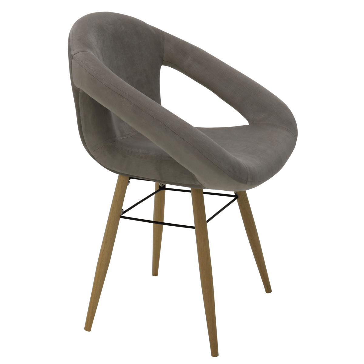 Cadeira Tramontina Delice Estofada Cinza em Polietileno com Base  em Madeira 92707211