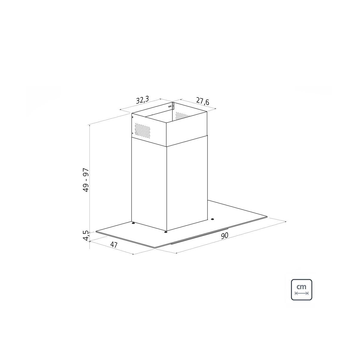 Coifa de Parede Tramontina Basic em Aço Inox 90 cm