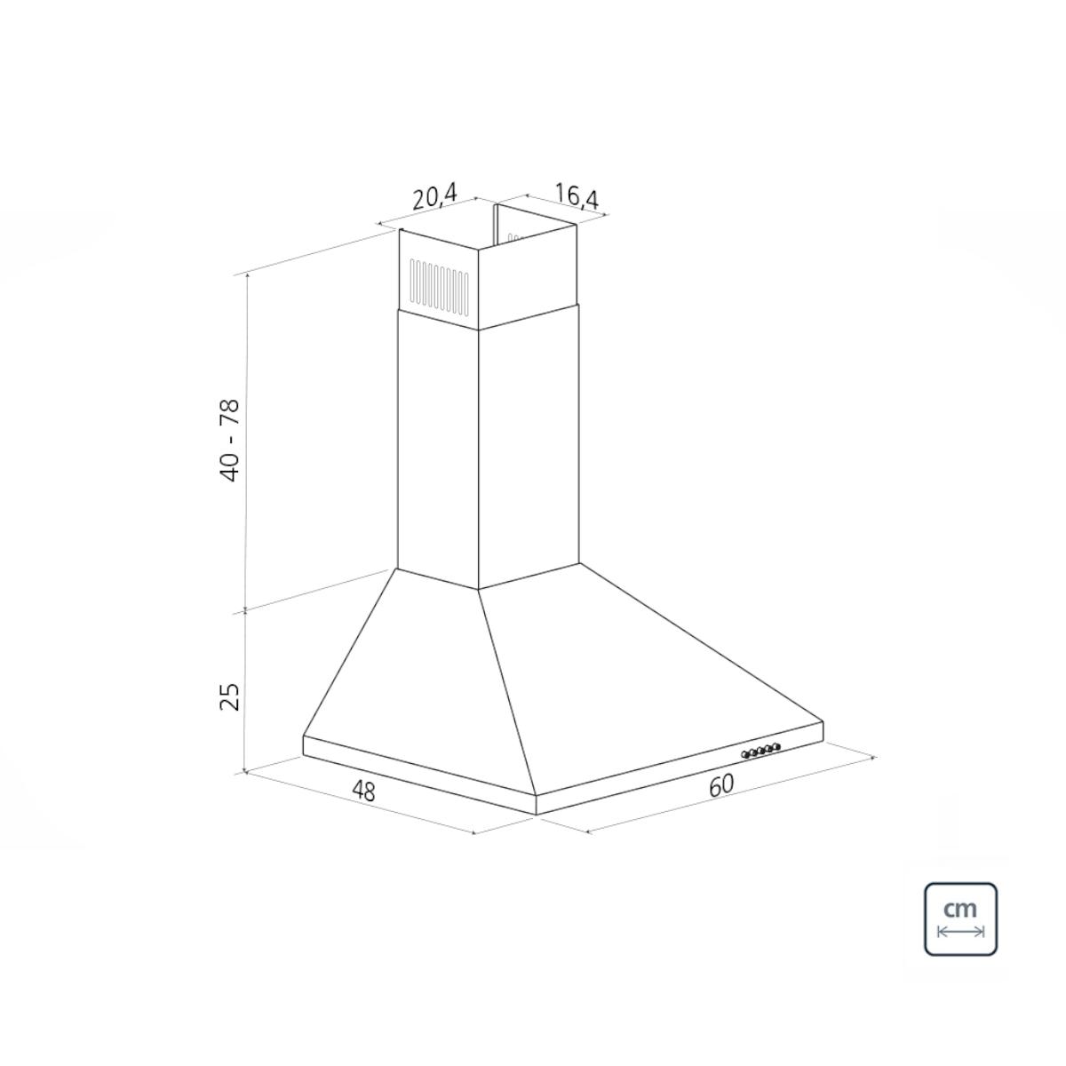 Coifa de Parede Tramontina Pirâmide em Aço Inox 60 cm