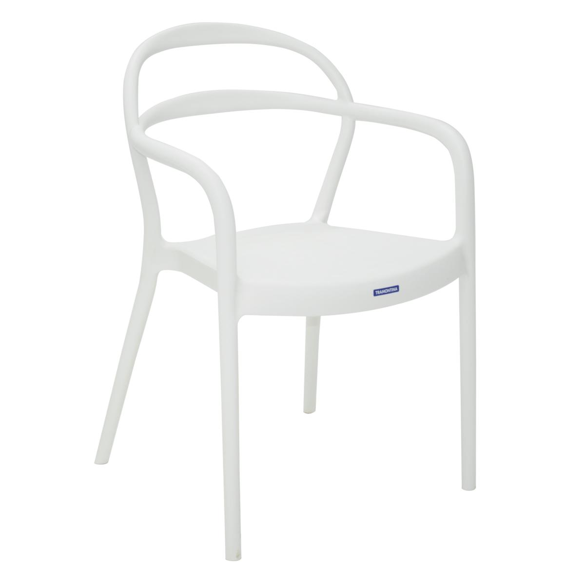 Cadeira Tramontina Sissi Branca com Braços em Polipropileno e Fibra de Vidro 92045010