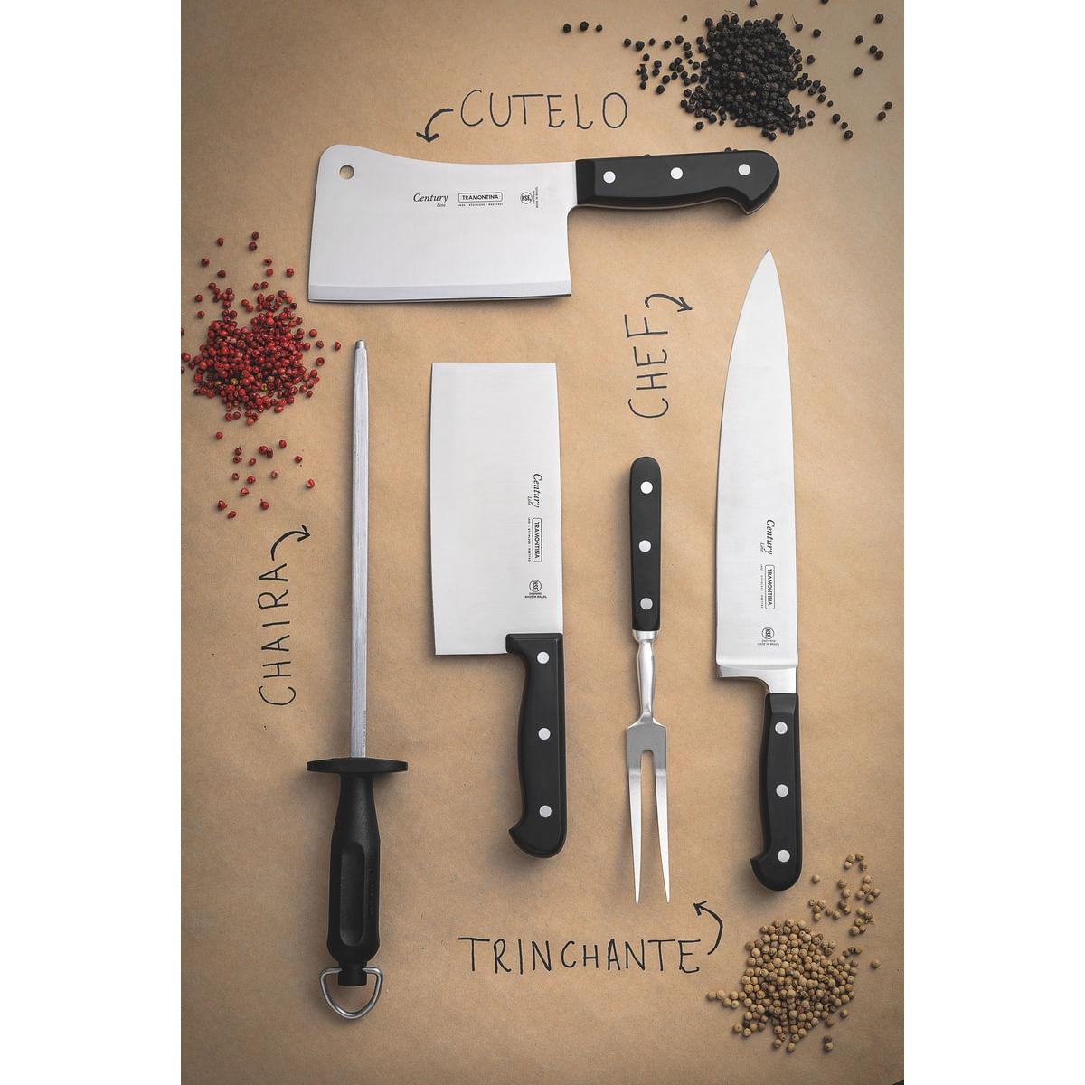 Faca Chef Tramontina Century com Lâmina em Aço Inox e Cabo de Policarbonato e Fibra de Vidro 10