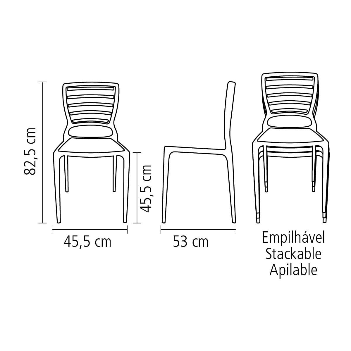 Cadeira Sofia encosto horizontal amarela Tramontina 92237000