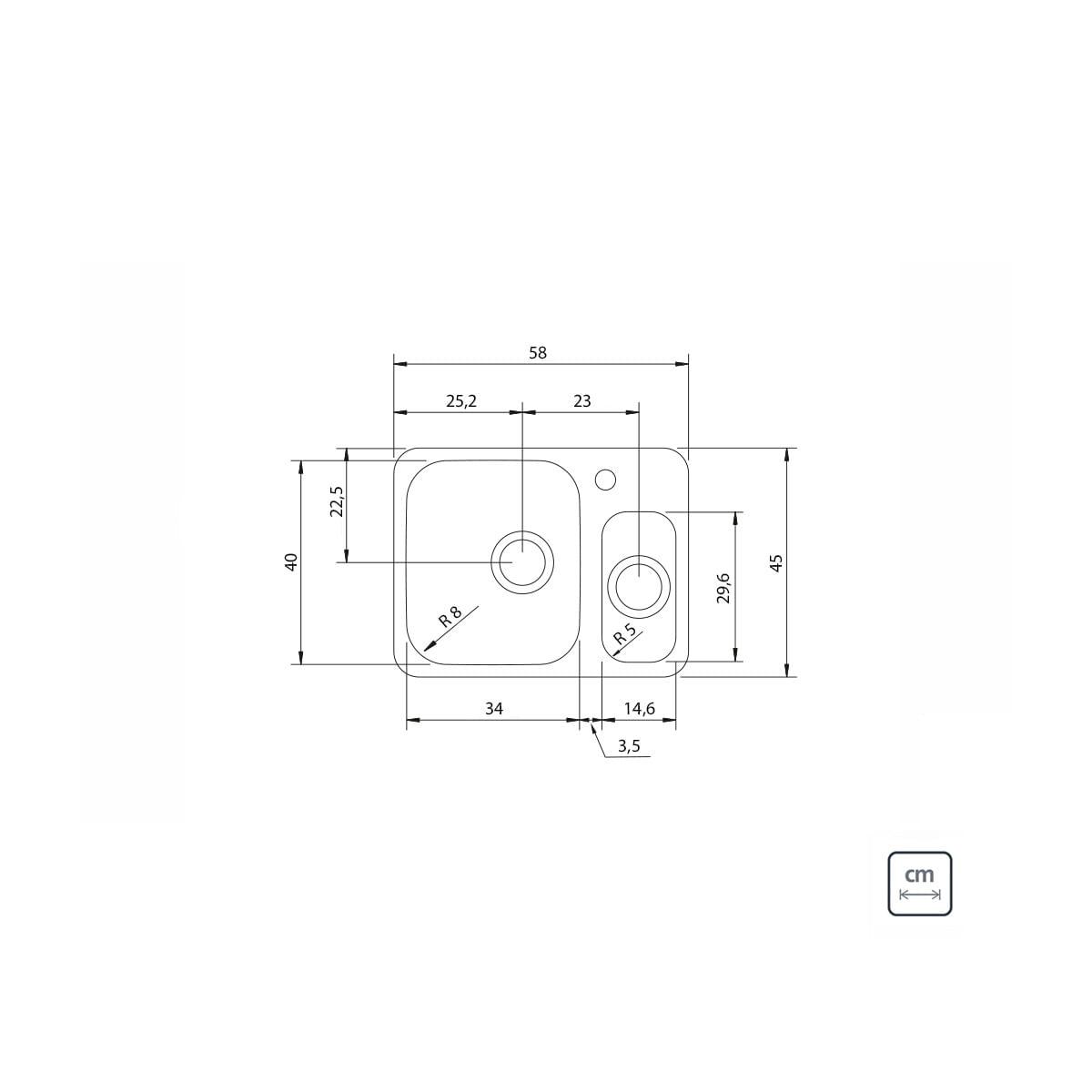 Cuba Tramontina Isis Plus em aço inox Acetinado 58 x 45 cm com válvula 94036122