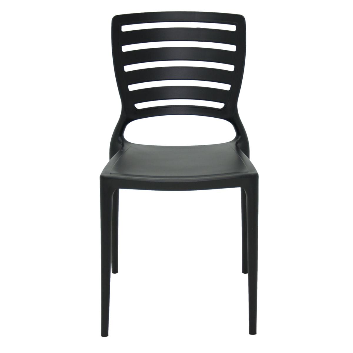 Cadeira Tramontina Sofia Preta Encosto Horizontal em Polipropileno e Fibra de Vidro