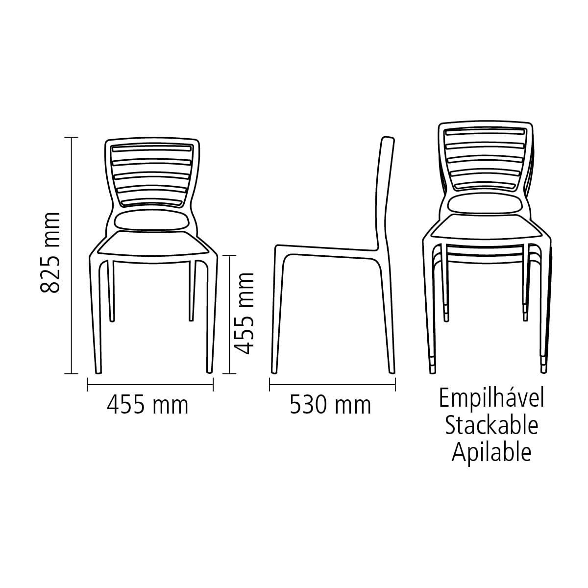 Cadeira Sofia encosto horizontal grafite Tramontina 92237007