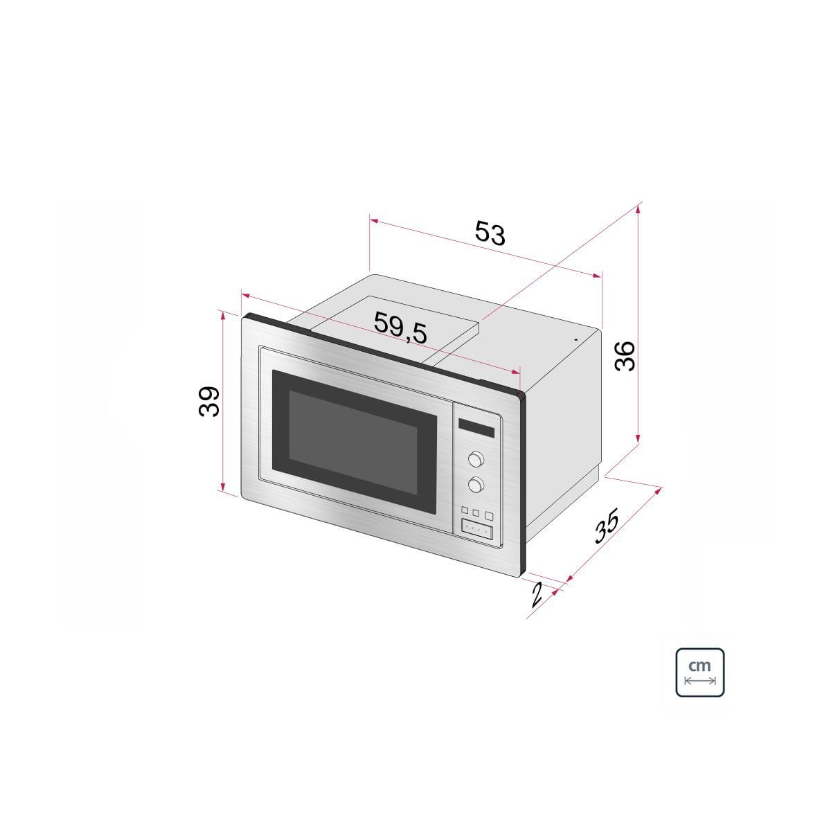 Micro-ondas de Embutir Tramontina 25 L em Aço Inox Tramontina 8 Funções 94880003