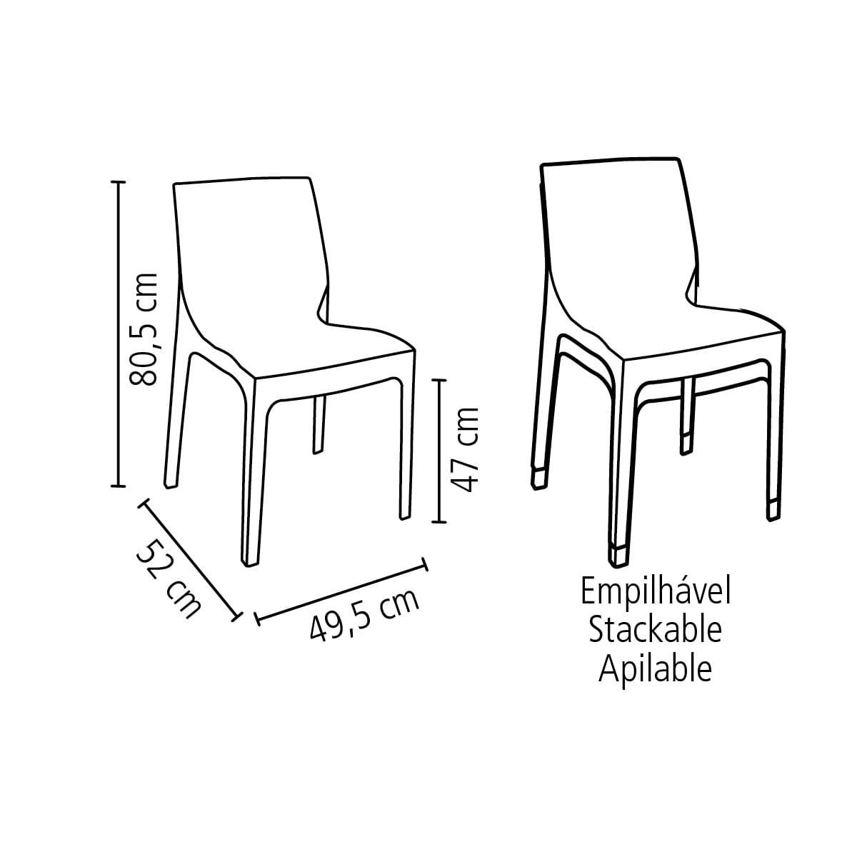 Cadeira Tramontina Alice em Polipropileno Marrom Mogno
