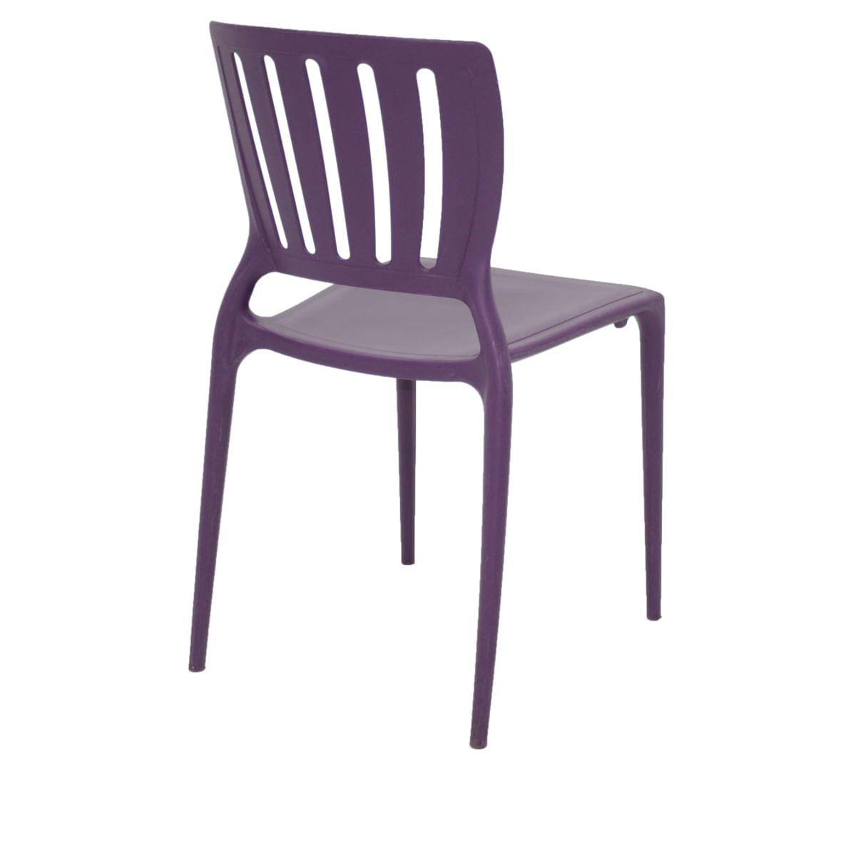 Cadeira Tramontina Sofia Lilás Encosto Vazado Vertical em Polipropileno e Fibra de Vidro
