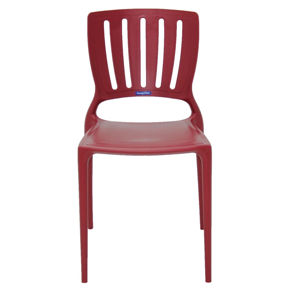 Cadeira Tramontina Sofia Marsala com Encosto Vazado Vertical em Polipropileno e Fibra de Vidro