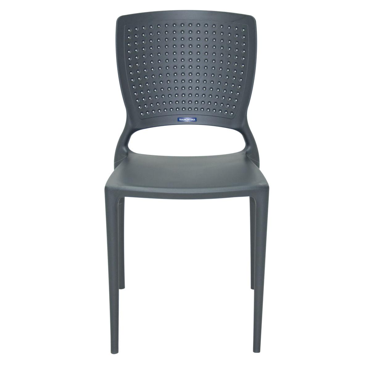 Cadeira Tramontina Safira Grafite em Polipropileno e Fibra de Vidro