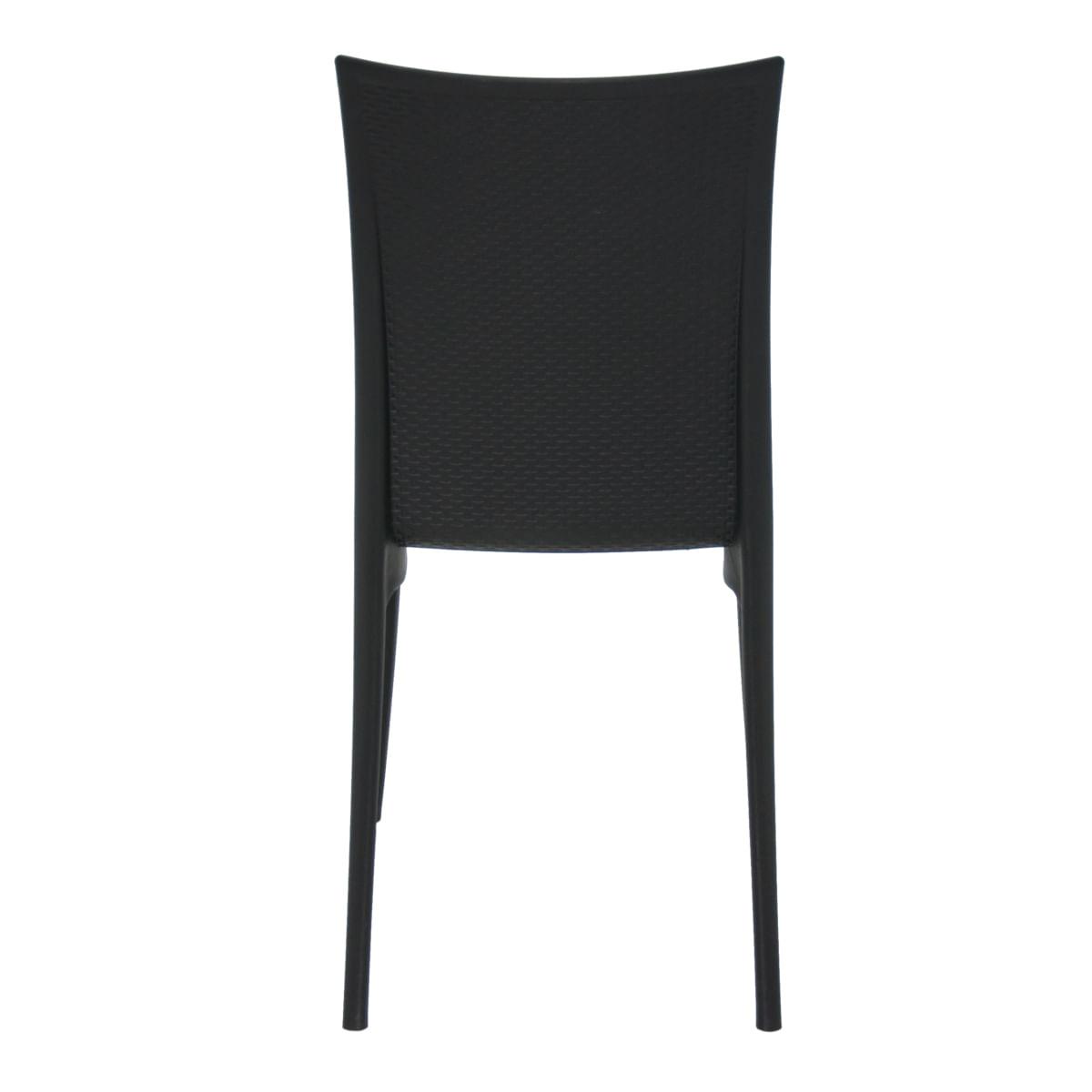Cadeira Tramontina Laura Ratan Preta em Polipropileno e Fibra de Vidro