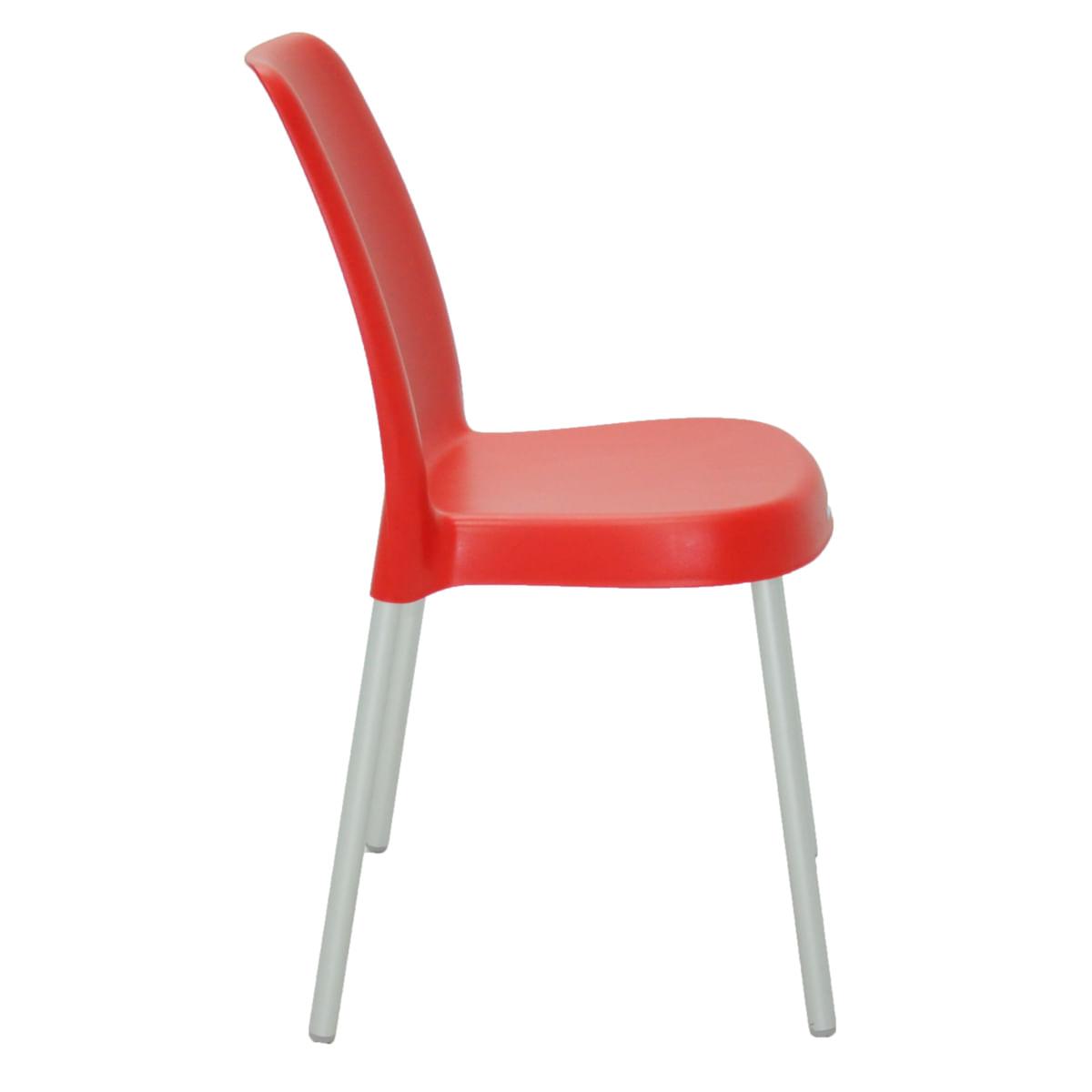 Cadeira Tramontina Vanda Vermelha em Polipropileno com Pernas em Alumínio