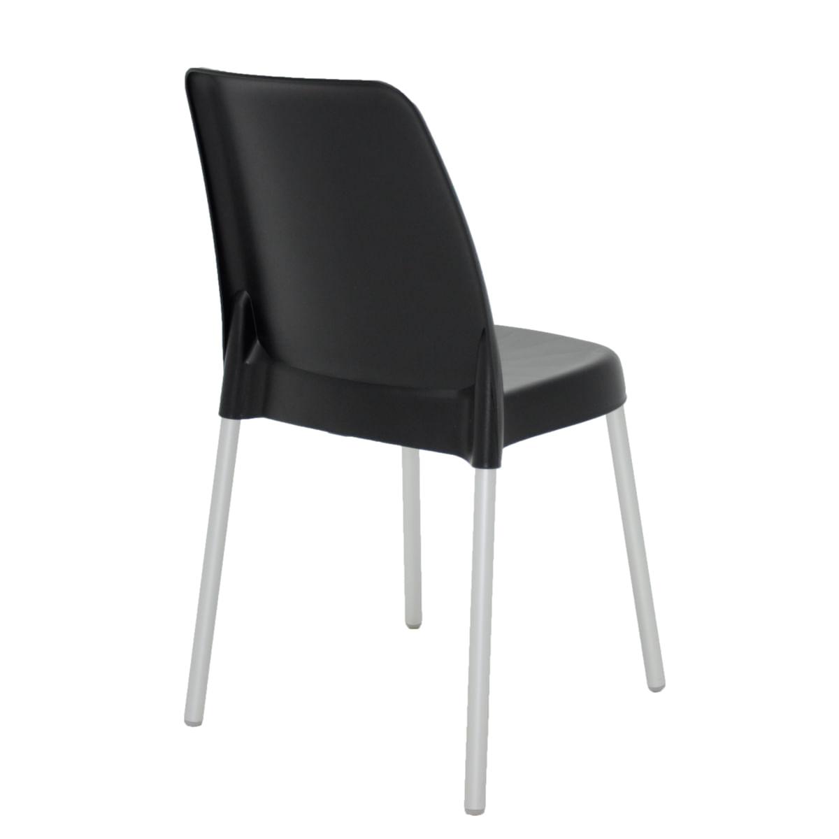 Cadeira Tramontina Vanda Preta em Polipropileno com Pernas em Alumínio