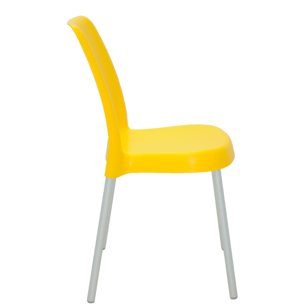 Cadeira Tramontina Vanda Amarela em Polipropileno com Pernas em Alumínio