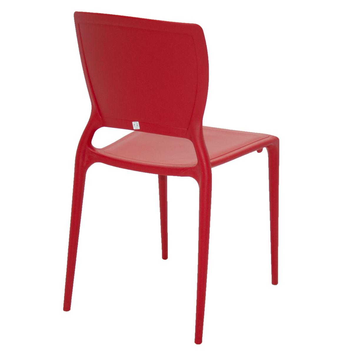Cadeira Tramontina Sofia Vermelha com Encosto Fechado em Polipropileno e Fibra de Vidro