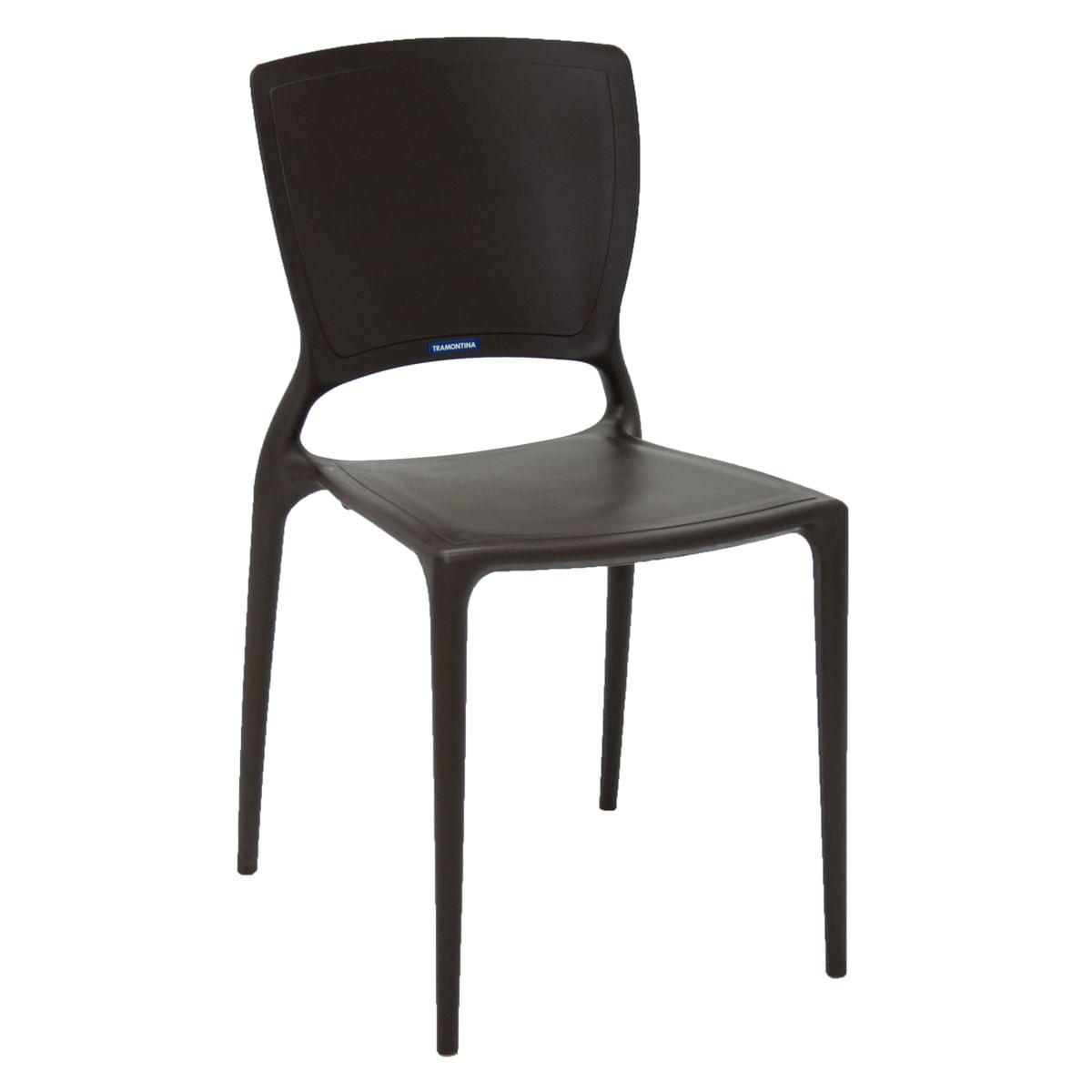 Cadeira Tramontina Sofia Marrom com Encosto Fechado em Polipropileno e Fibra de Vidro