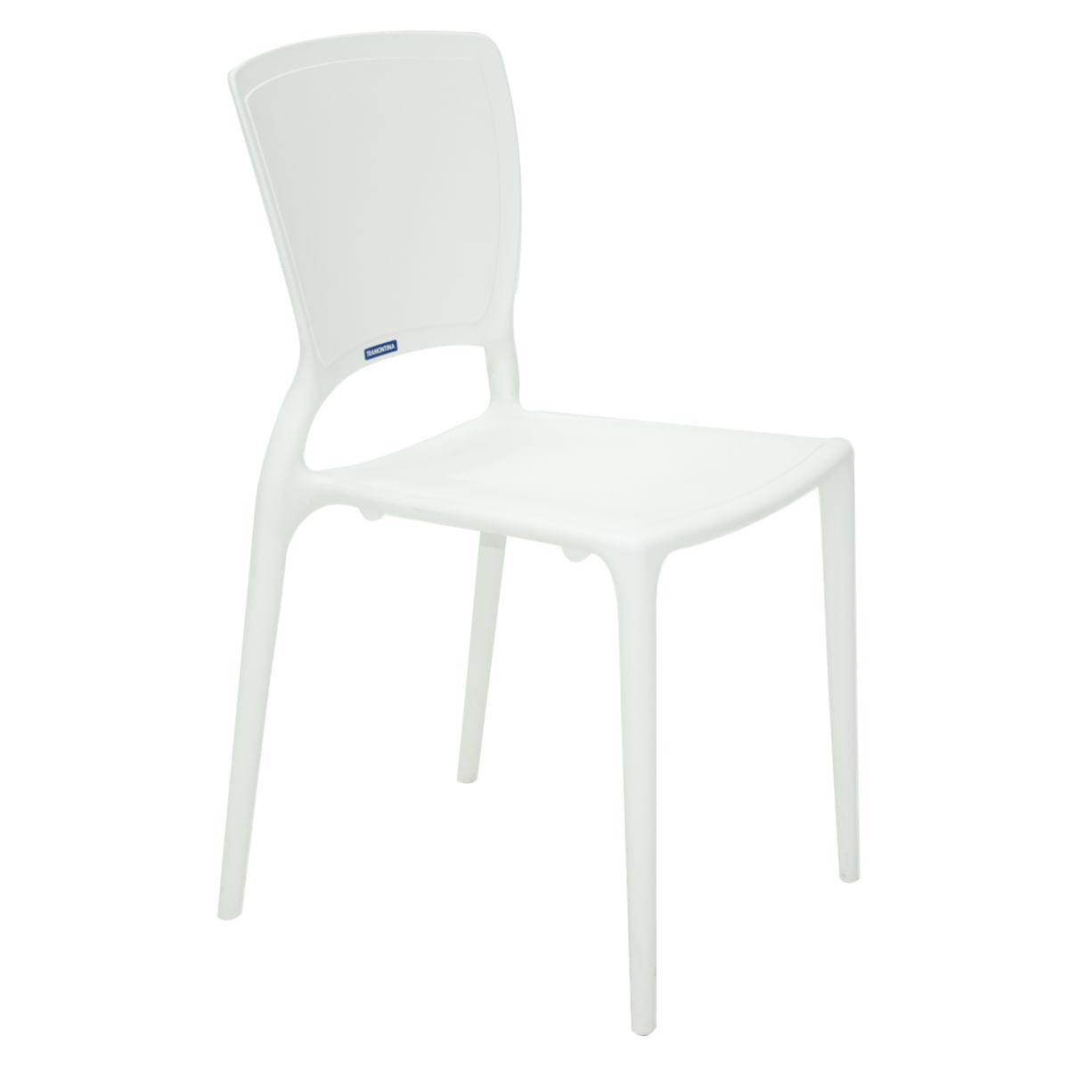 Cadeira Tramontina Sofia Branca com Encosto Fechado em Polipropileno e Fibra de Vidro