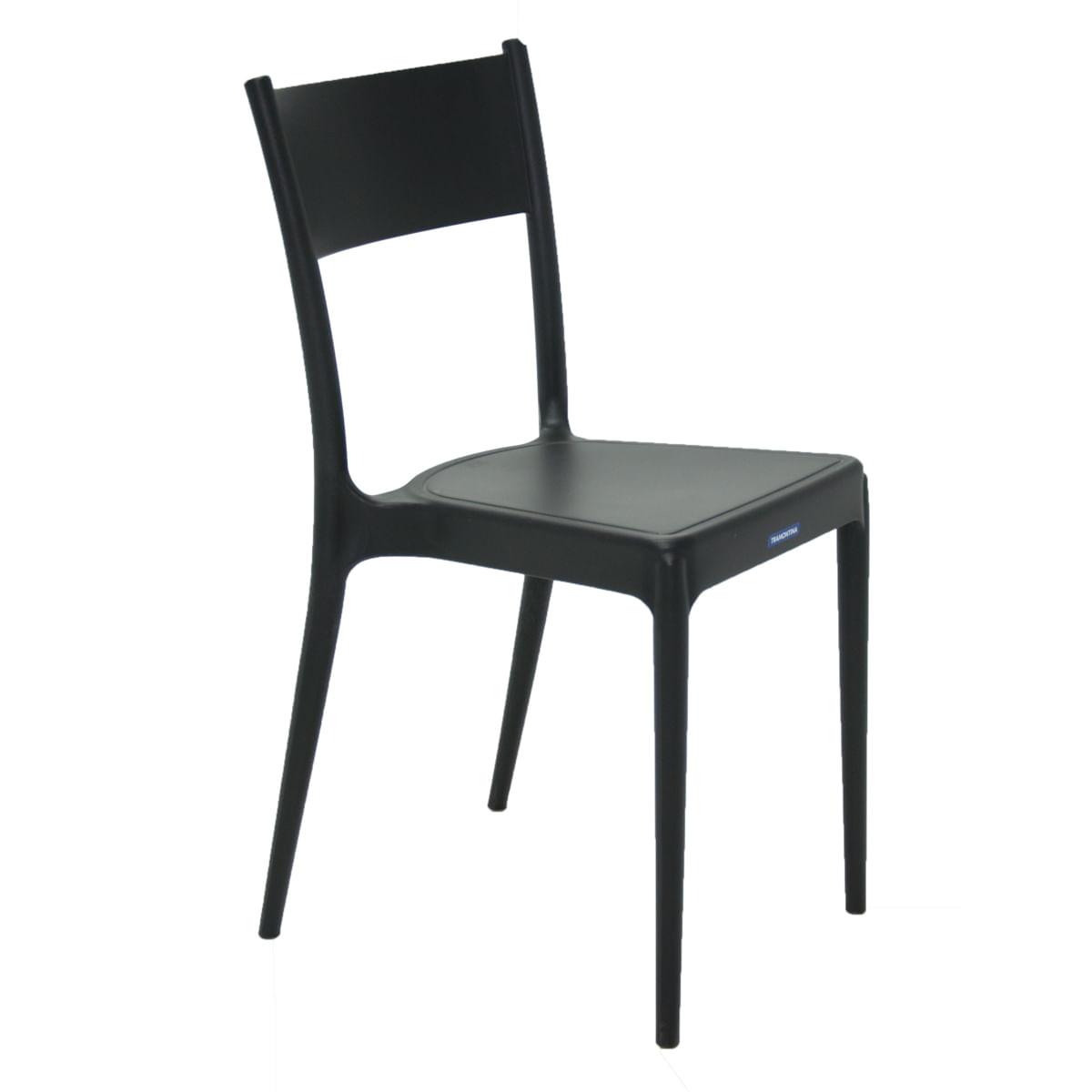 Cadeira Tramontina Diana Preta em Polipropileno e Fibra de Vidro