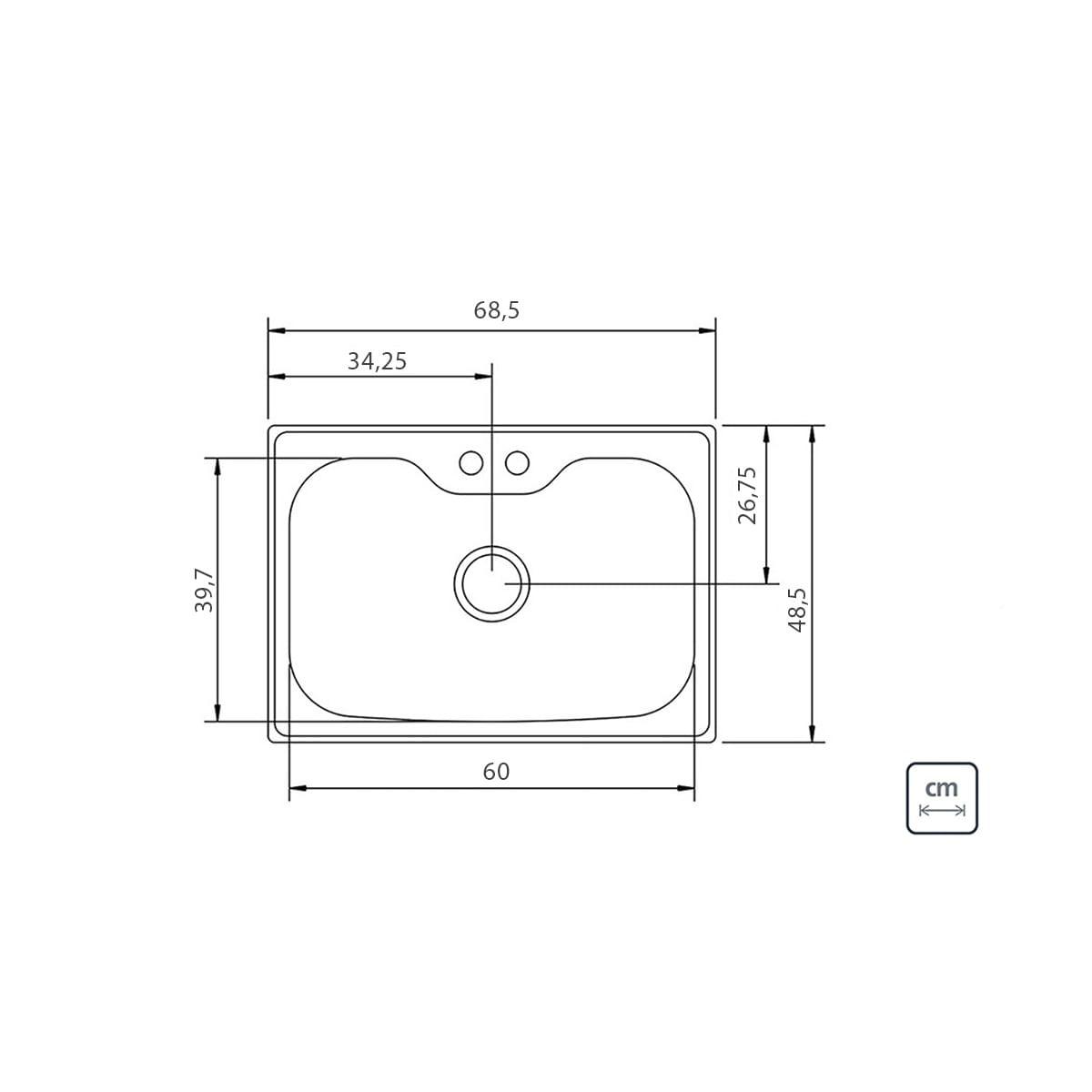 Cuba de Sobrepor Tramontina Morgana em Aço Inox 69 x 49 cm com Lixeira de Embutir 5 L Tábua de Madeira Dosador de Sabão Cesto Coador e Válvula