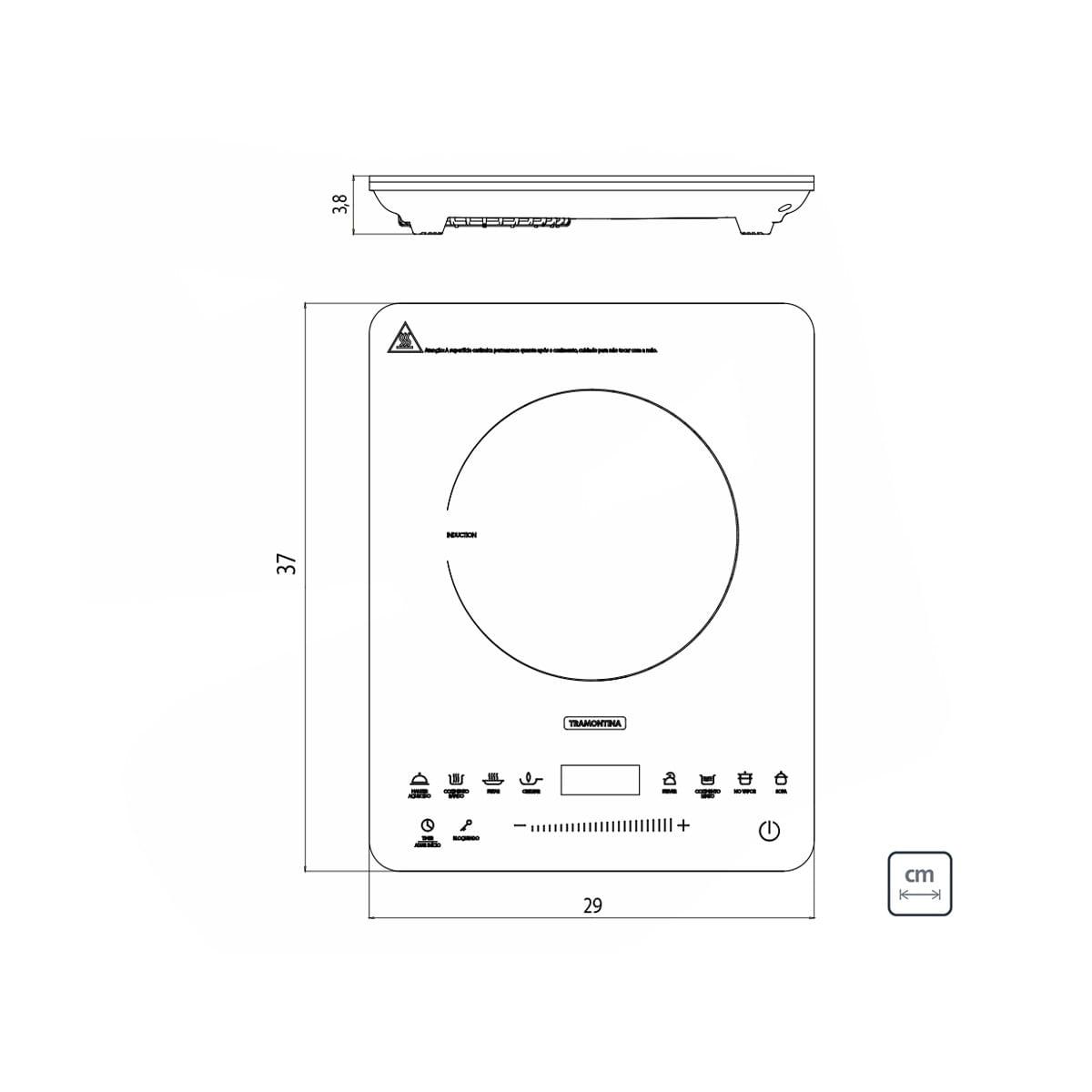Cooktop Portátil por Indução Tramontina Slim Touch 220 V 94714132