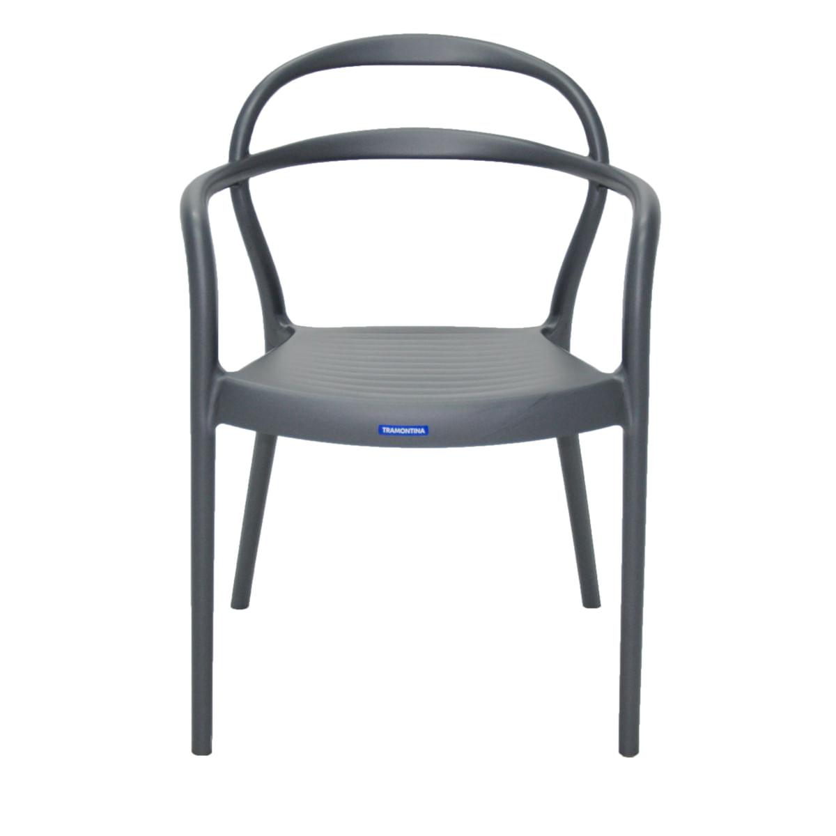 Cadeira Tramontina Sissi Grafite com Braços em Polipropileno e Fibra de Vidro