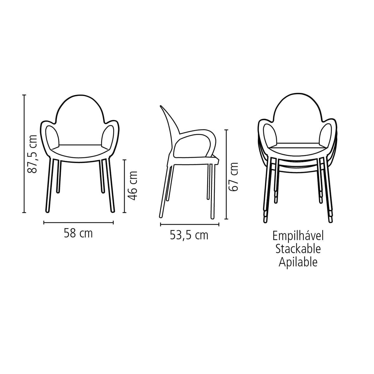 Cadeira Tramontina Grace Preta em Polipropileno com Braços