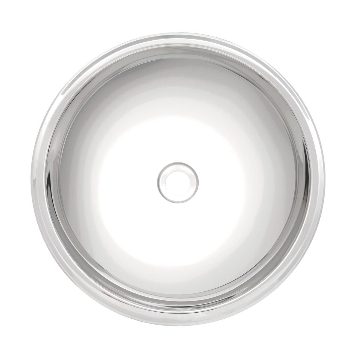 Lavabo Tramontina Redonda em Aço Inox Alto Brilho 34 cm