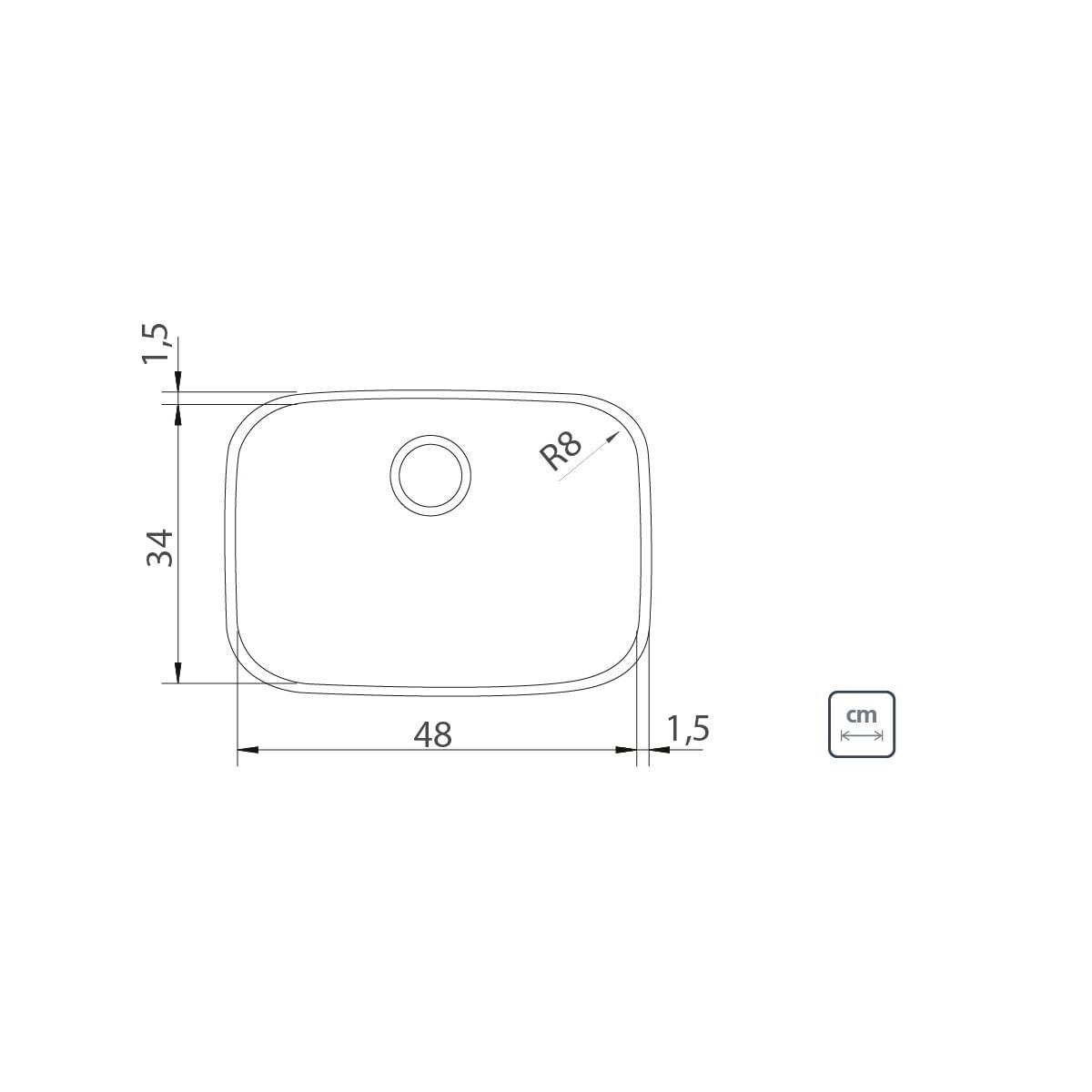 Cuba de Embutir Tramontina Lavínia 48 BL em Aço Inox Alto Brilho 48 x 34 x 18 cm com Válvula