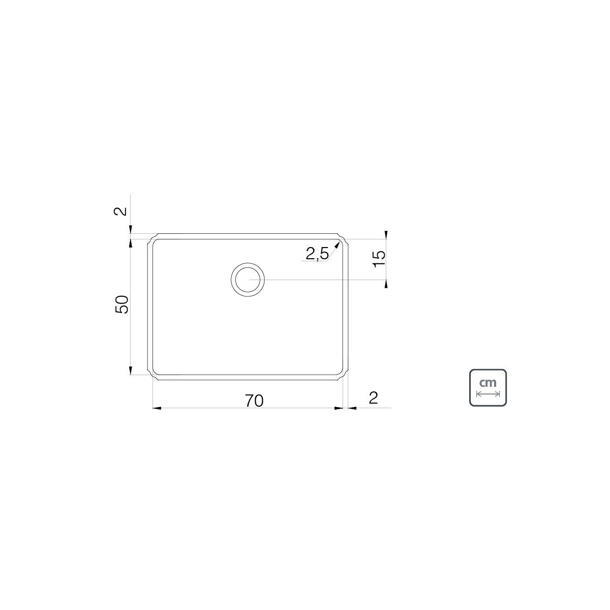 Tanque de Embutir Tramontina Jumbo 106 L em Aço Inox 70 x 50 cm