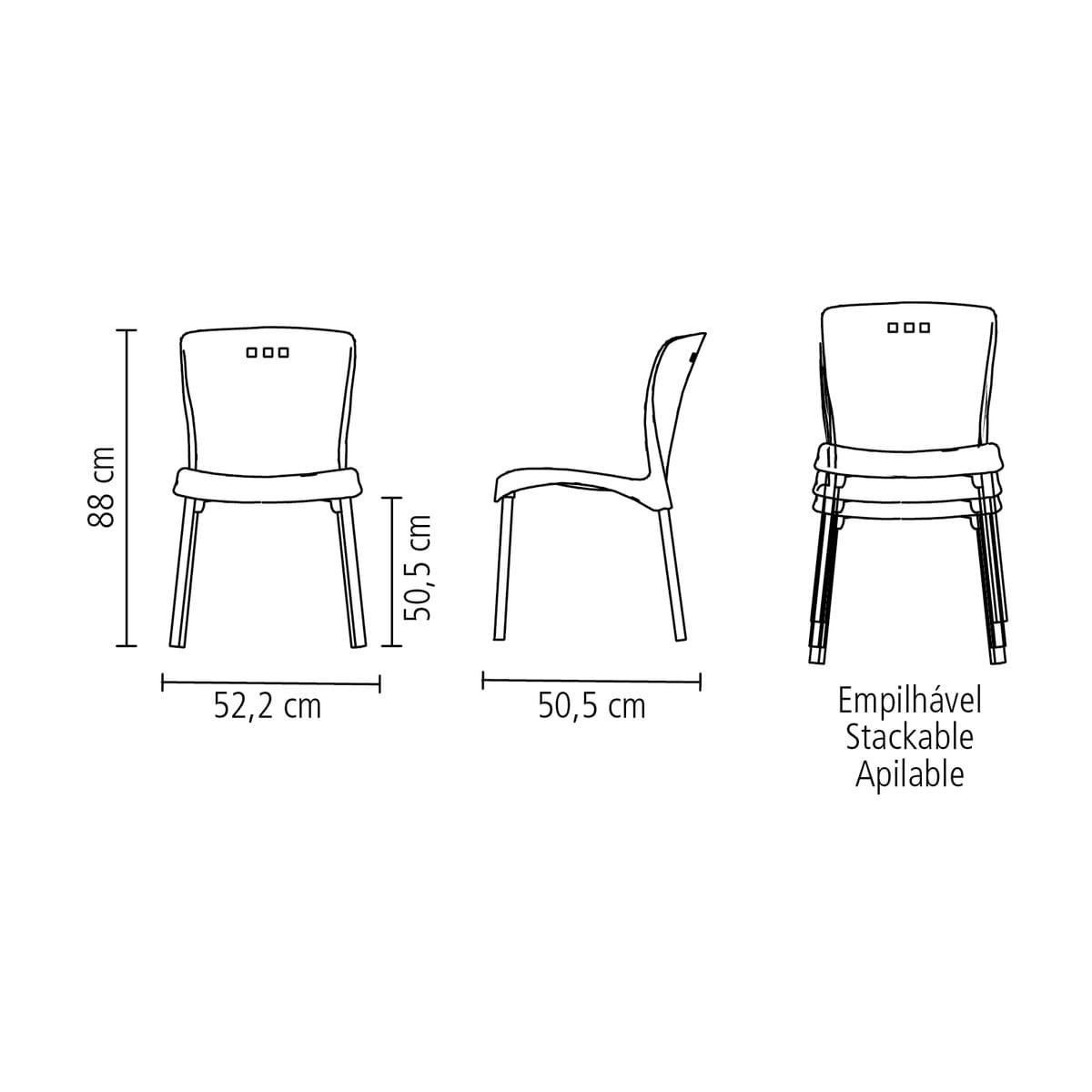 Cadeira Tramontina Mona Preta em Polipropileno com Pernas Anodizadas