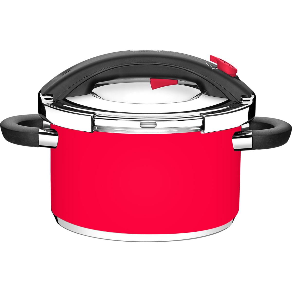 Panela de Pressão Tramontina Vermelha em Aço Inox Fundo Triplo 24 cm 6 Litros