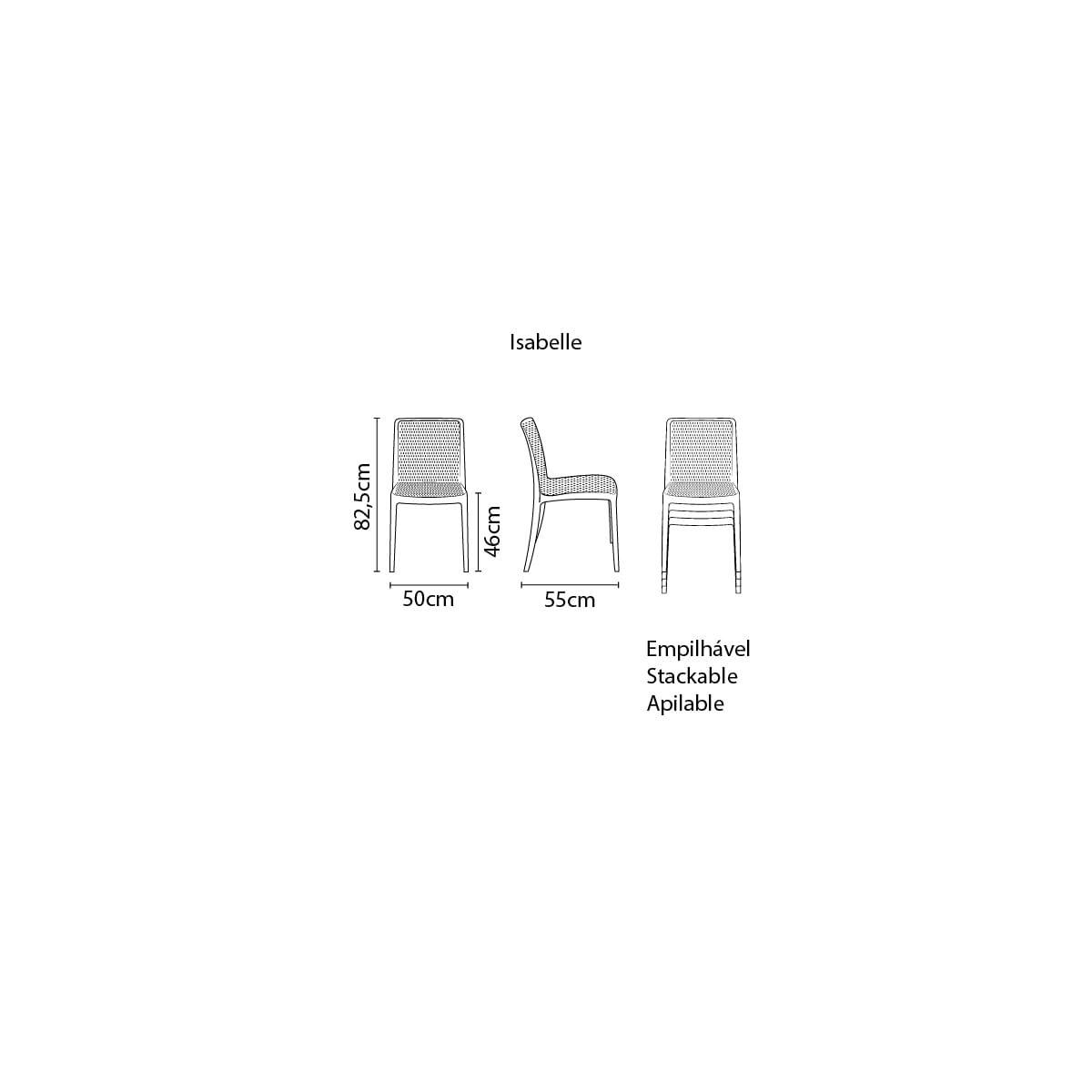 Cadeira Tramontina Isabelle Preta em Polipropileno e Fibra de Vidro