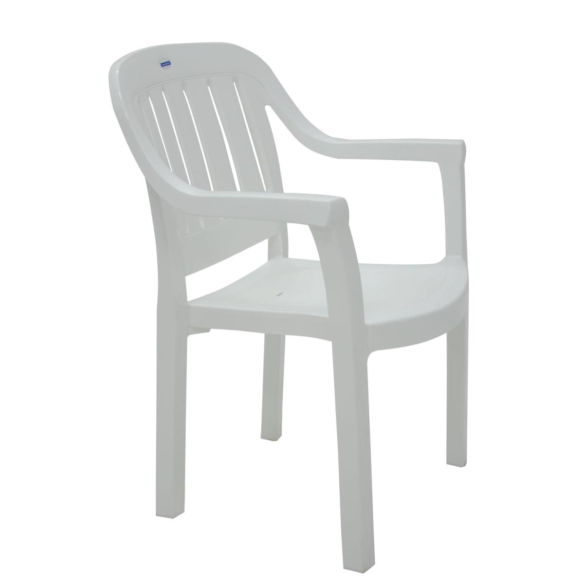 Cadeira Tramontina Miami Branco com Braços Encosto Vertical em Polipropileno