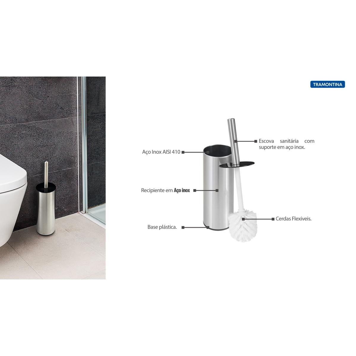 Escova para Banheiro Tramontina em Aço Inox com Acabamento Scotch Brite