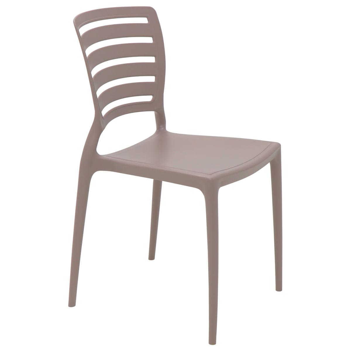 Cadeira Tramontina Sofia Camurça Encosto Vazado Horizontal em Polipropileno e Fibra de Vidro