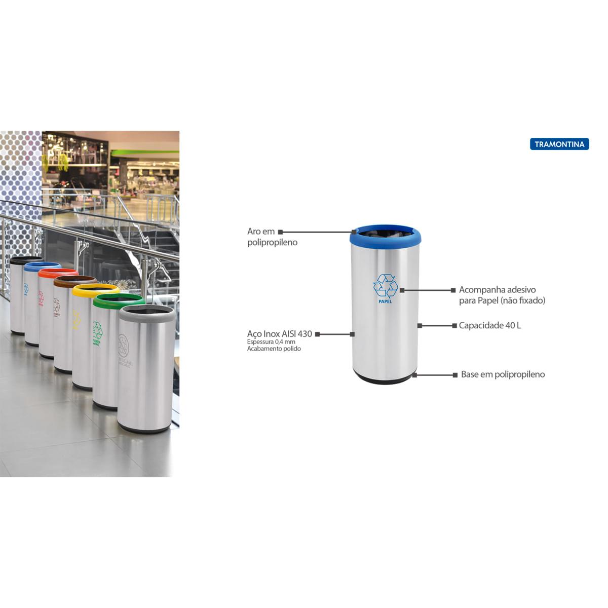 Lixeira Inox Tramontina 40 Litros Cápsula Selecta Plus Azul