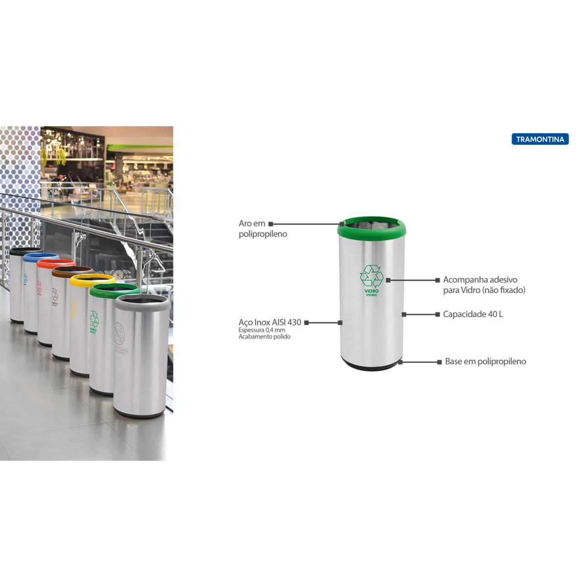 Lixeira Inox Tramontina 40 Litros Cápsula Selecta Plus Verde