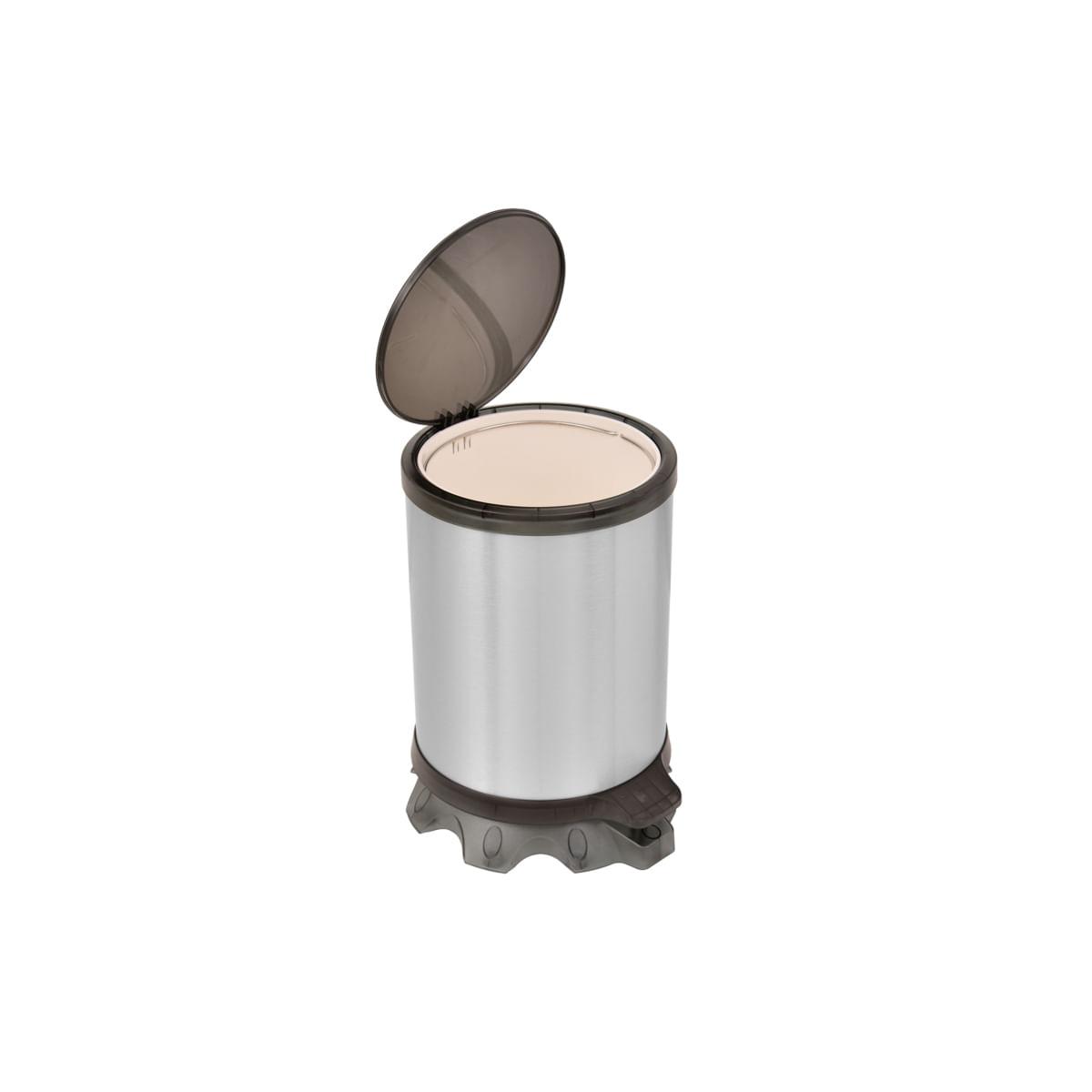 Lixeira Inox Tramontina Sofie Inox Scotch Brite e Detalhes em Plástico Translúcido Preto com Pedal 5 L