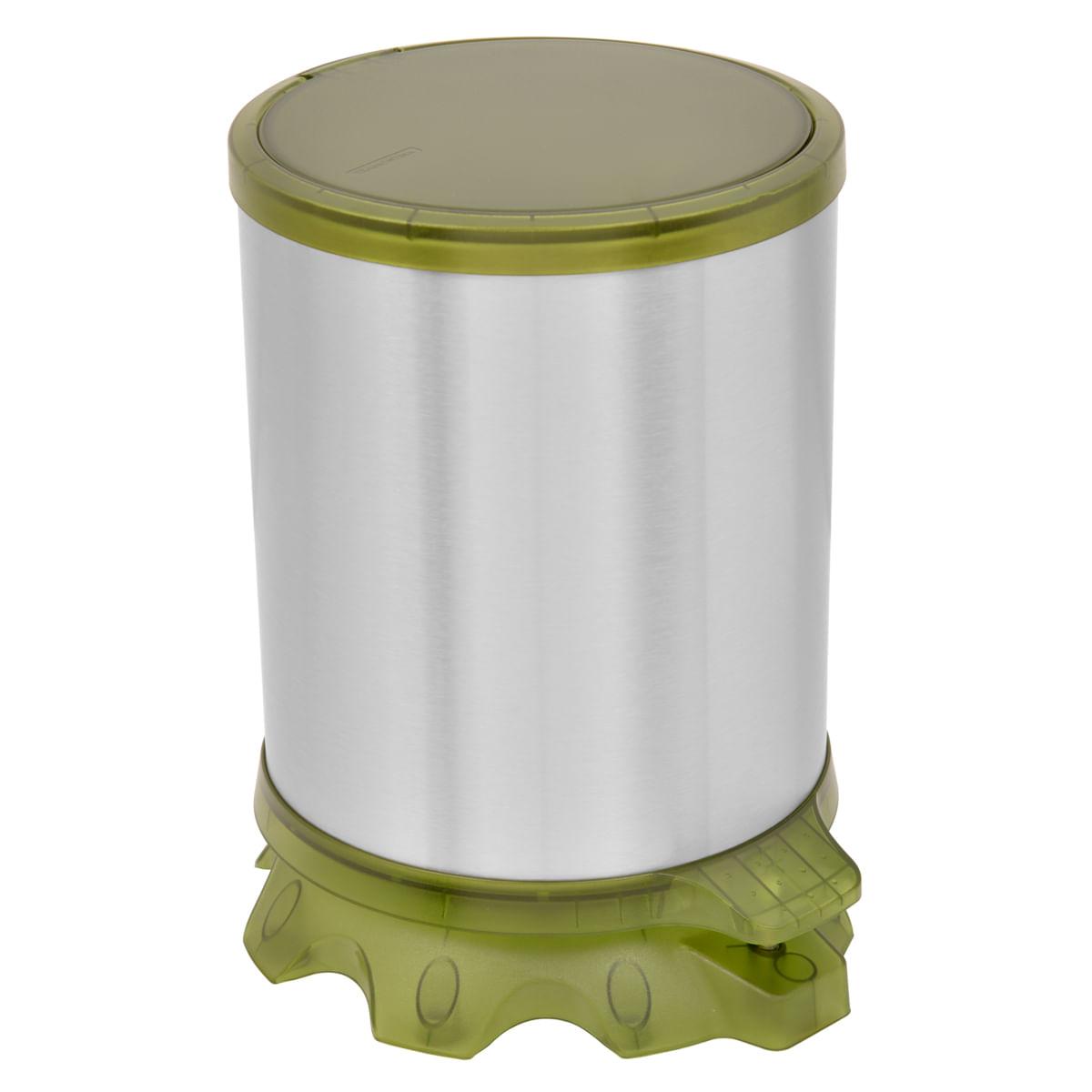 Lixeira Inox Tramontina Sofie Inox Scotch Brite e Detalhes em Plástico Translúcido Verde com Pedal 5 L