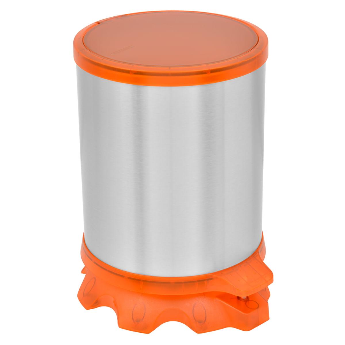 Lixeira Inox Tramontina Sofie Inox Scotch Brite e Detalhes em Plástico Translúcido Laranja com Pedal 5 L