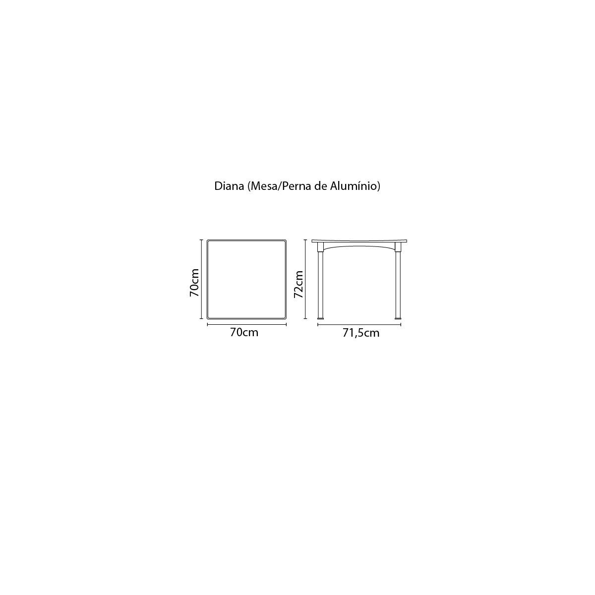 Mesa Tramontina Diana Preta 70 x 70 cm  em Polipropileno com Pernas de Alumínio