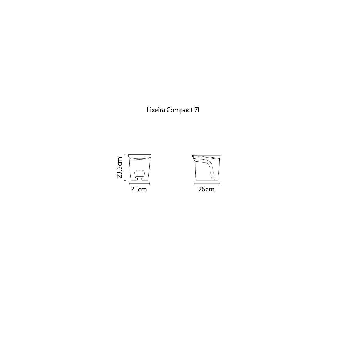 Lixeira Tramontina 7 Litros Compact em Polipropileno Branco