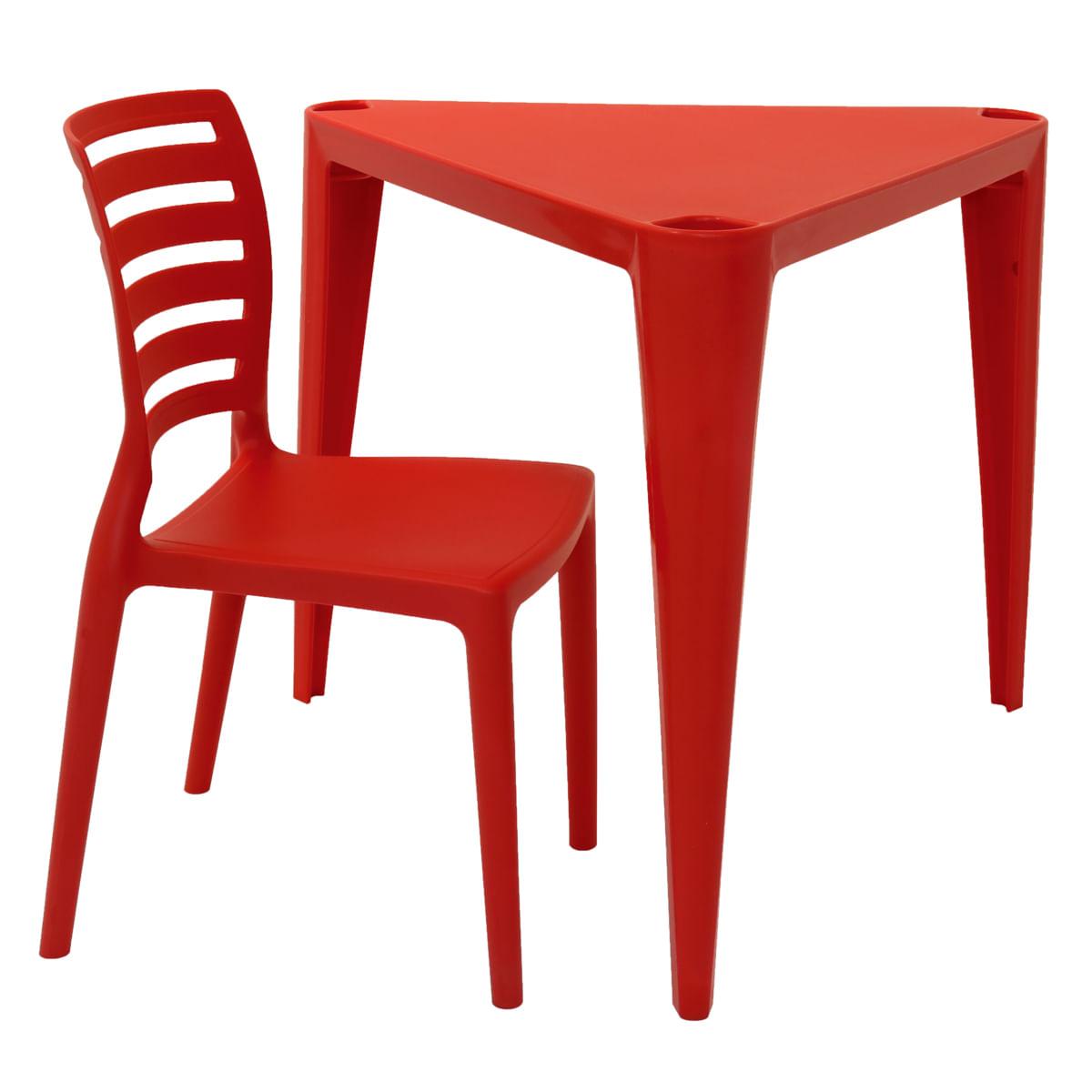 Conjunto de Mesa e Cadeira Tramontina Sofia Infantil Vermelho em Polipropileno e Fibra de Vidro 2 Peças