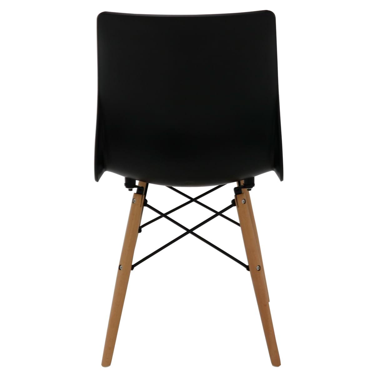 Cadeira Tramontina Maja Unicolor 3D em Polipropileno Preto com Base em Madeira Faia