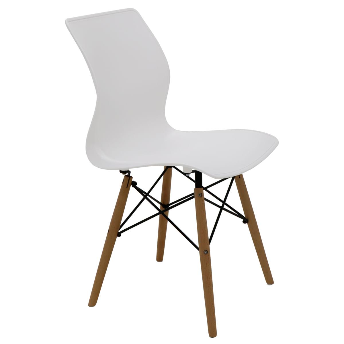 Cadeira Tramontina Maja Unicolor 3D em Polipropileno Branco com Base em Madeira Faia