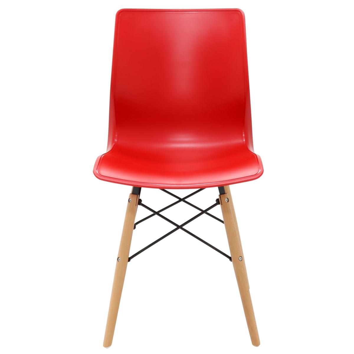 Cadeira Tramontina Maja Unicolor 3D em Polipropileno Vermelho com Base em Madeira Faia