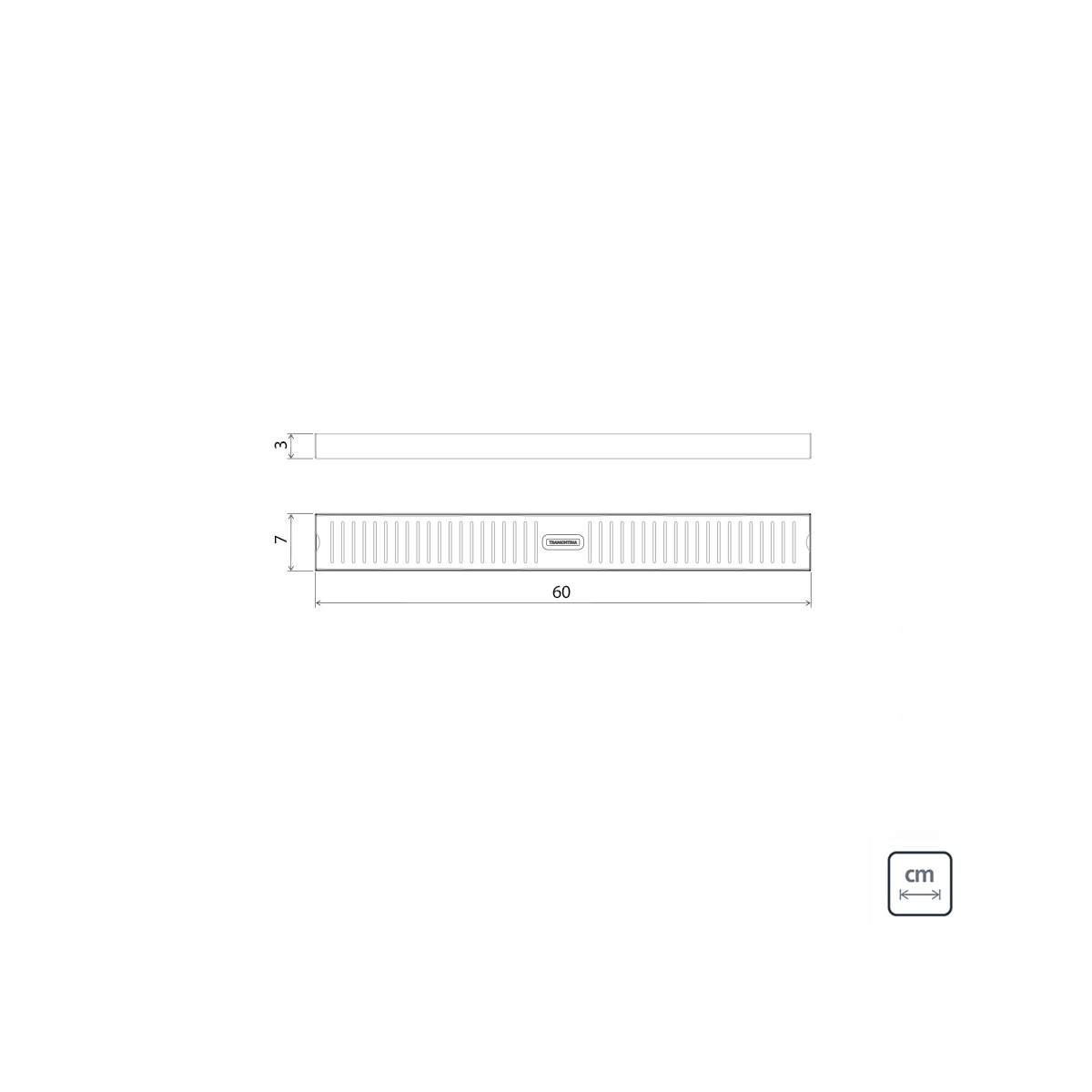 Ralo Slim Tramontina em Aço Inox 60 x 7 cm