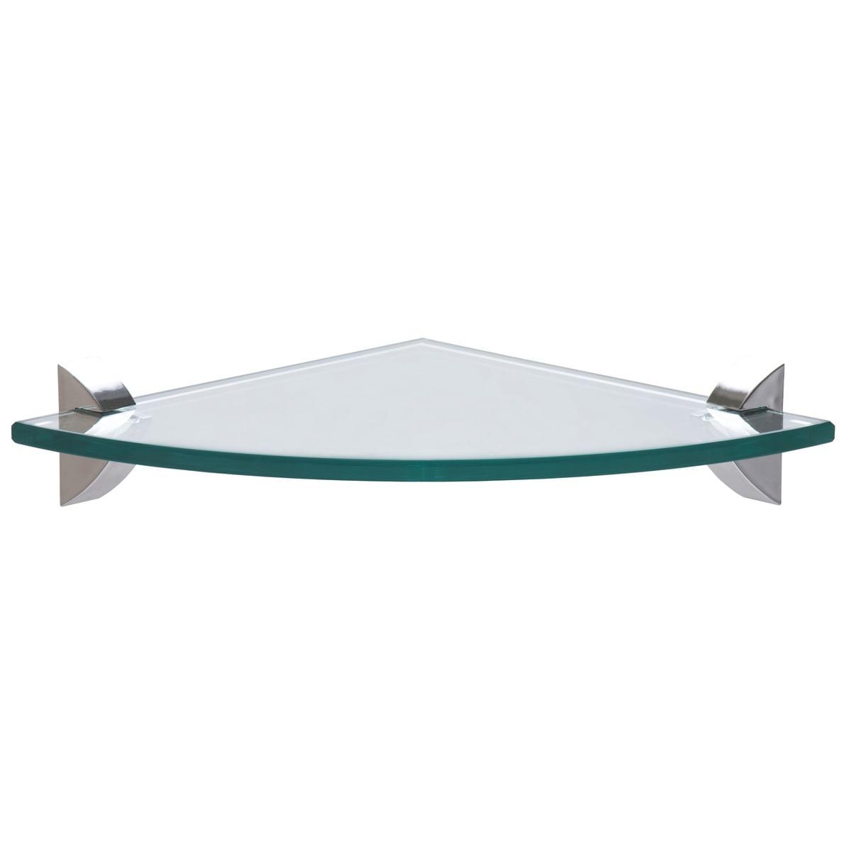 Prateleira de Canto Tramontina de Vidro 20 x 20 cm Glass 8 mm com suporte Injetado